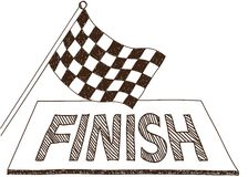Checkered flag and finish drawing. Illustration of checkered flag and finish, doodle style drawing Royalty Free Stock Images