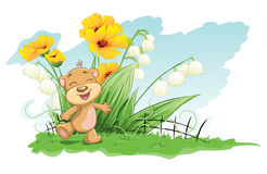 Illustration cheerful bear with lilies and flowers.  Royalty Free Stock Image