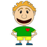 Illustration of the cheerful boy of the football player in a foo. Tball form Royalty Free Stock Photo