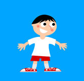 Illustration of a cheerful child in white t-shirt and red shorts Royalty Free Stock Photography