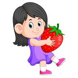 Cheerful girl with big strawberries stock illustration
