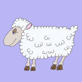 Illustration of a cheerful lamb. With blue eyes for chidren book vector illustration