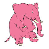 Illustration of a cheerful pink elephant. The elephant costs on Royalty Free Stock Image