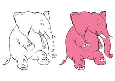 Illustration of a cheerful pink elephant. The elephant costs on a hind leg and smiles Royalty Free Stock Photo