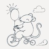 Illustration with a cheerful rat on a bike with balloon. Coloring page. Vector image Royalty Free Stock Images