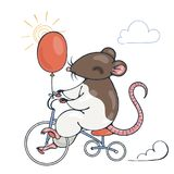 Illustration with a cheerful rat on a bike with balloon. Vector image Royalty Free Stock Photography