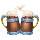 Illustration: Cheering Beer Cups isolated on White Background. Royalty Free Stock Photo