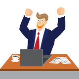 Illustration of Cheering businessman at his desk isolated Royalty Free Stock Photography