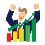 Illustration of Cheering businessman for stock market chart on white background Royalty Free Stock Photos