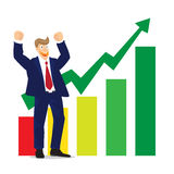 Illustration of Cheering businessman for stock market chart on white background Stock Images