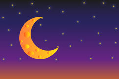 Illustration of Cheese Moon with stars on night sky background Stock Images