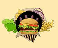 Illustration of cheeseburger Royalty Free Stock Photo