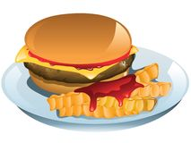 Cheeseburger. Illustration of a cheeseburger and fries with ketchup Royalty Free Stock Image
