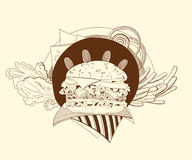 Illustration of cheeseburger, fries, salad, onion Royalty Free Stock Photos