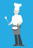 Illustration of a chef on a blue background Stock Photo