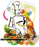 Illustration of chef in kitchen. Royalty Free Stock Image
