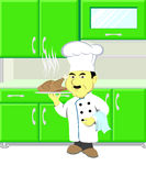 Cartoon Chef holding dish Royalty Free Stock Image