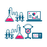 Illustration of chemical processes and reactions and watching them. Line art Stock Photo