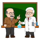 Illustration of a chemistry or scientist at a chalkboard. Royalty Free Stock Photos
