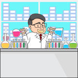 Illustration of a chemistry or scientist in laboratory. Royalty Free Stock Images