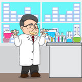 Illustration of a chemistry or scientist in laboratory. Royalty Free Stock Photo