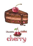 Illustration of cherry cake Royalty Free Stock Photos