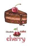 Illustration of cherry cake Royalty Free Stock Photos