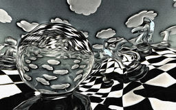 Illustration of chess figures at play Royalty Free Stock Image