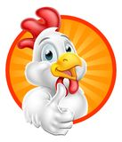 Chicken Cartoon Character Giving Thumbs Up. Illustration of a chicken cartoon character giving a thumbs up Stock Photos