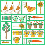 Illustration with chickens and rooster Royalty Free Stock Photos