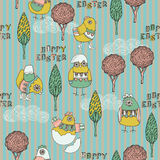 Illustration of chicks, trees, eggs hatching Royalty Free Stock Photo