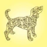 Illustration Chien avec des fleurs sur un fond jaune Photo stock