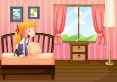 A child in her clean bedroom Stock Images