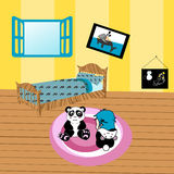 Illustration of a child playing in her room. With a plush panda and other toys Royalty Free Stock Photo