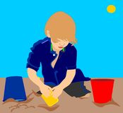 Illustration of a child in sand Royalty Free Stock Images