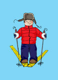 Illustration of a child on skis. Winter sport. The festive mood. Royalty Free Stock Photo