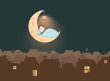 Illustration - A child sleeping on the Cheese Moon, above the fairytale city. Illustration for a fairytale - A child sleeping on the Cheese Moon, above the Royalty Free Stock Image