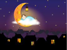 Illustration - A child sleeping on the Cheese Moon, above the fairytale (old European) city. With cats silhouettes in the windows and weather vanes with cats Royalty Free Stock Images