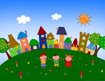 Illustration for children. Cartoon characters. Colorful graphic illustration for children Stock Image