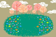 Illustration for Children: The Beautiful Flower Fields in the Small Woods. Realistic Fantastic Cartoon Style Artwork / Story / Scene / Wallpaper / Background Royalty Free Stock Image