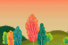 Illustration for Children: Beautiful Little Hills with Colorful Trees. Stock Photo