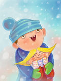 Illustration with children boy and girl that happy. To first snow. Boy hugging girl Royalty Free Illustration