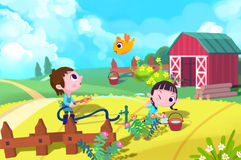 Illustration For Children: The Boy is Watering the Plants but Carelessly Fired the Water to the Girl. Stock Photo