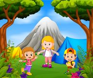 Children camping out in the park with mountain scene. Illustration of Children camping out in the park with mountain scene Stock Photo