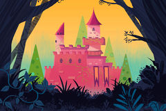Illustration for Children: Castle in the Forest. Royalty Free Stock Images