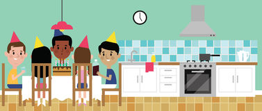 Illustration Of Children Celebrating Birthday In Kitchen Stock Images