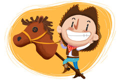 Illustration for Children: The Cow Boy Play with Stuffed Horse Toy. Stock Photography