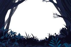 Illustration for Children: Dark Forest Card Frame. Realistic Fantastic Cartoon Style Artwork / Story / Scene / Wallpaper / Background / Card Design Stock Image