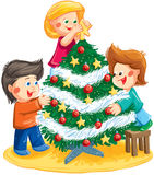 Illustration with children decorating the Christmas tree Stock Photo