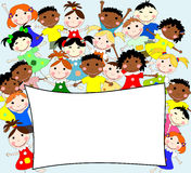 Illustration of children of different races behind a banner Royalty Free Stock Image